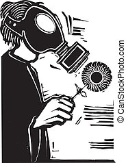Gas Mask - Man in Gas mask holding a sun like flower