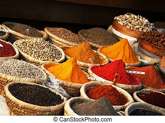 Egyptian spice market - View of baskets full of various...