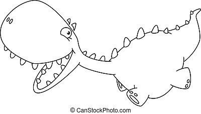 little running dino outlined - illustration of a little...