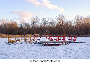Kicksleds on Farm Pond - Kicksleds on frozen Farm Pond at...