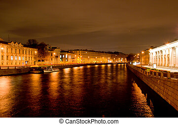Fontanka river at night Saint Petersburg, Russia