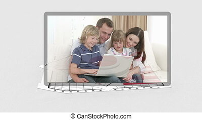 Family videos appearing with animated diagram behind them
