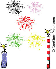 fireworks explosions over white with elements vector