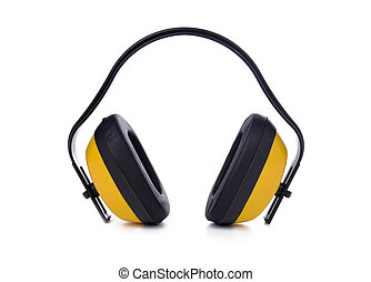acoustic earmuffs - yellow earmuffs isolated on white