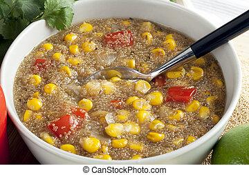 Amaranth Corn Chowder - Bowl of healthy vegetarian amaranth...