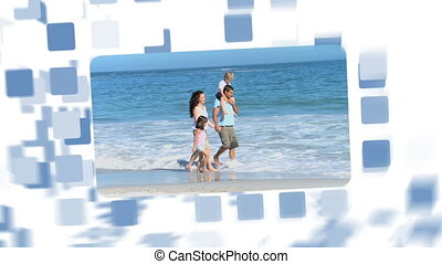 Montage about families on holidays at the beach