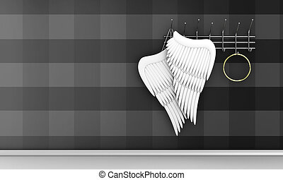 Angel wings - Illustration of wings of an angel and nimbus...