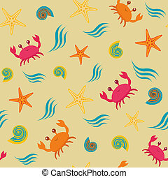 Seamless pattern with crabs - Colorful seamless pattern with...