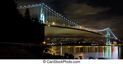 Lions Gate Bridge in Vancouver BC at Night - Lions Gate...