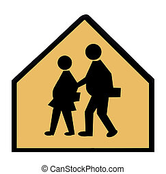 Overweight Children Crossing - A school crossing sign...