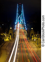 Light Trails on Lions Gate Bridge at Night - Light Trails on...