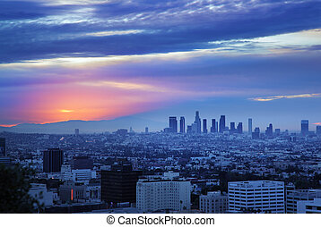 Los Angeles skyline at sunrise, view from Hollywood Hills