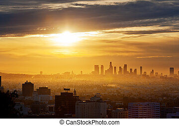 Los Angeles sunrise - Los Angeles skyline at sunrise, view...