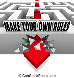 Make Your Own Rules Arrow Breaks Free of Maze - A red arrow...
