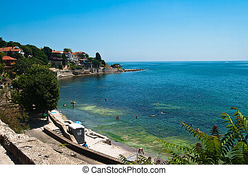 Beach area - Beach in Nessebar, Bulgaria, beautiful sea and...
