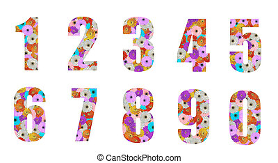floral font number 0 to 9 - cute colorful floral font...