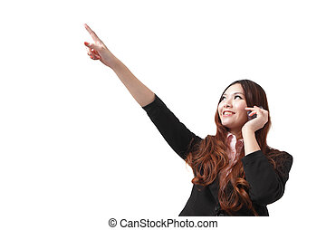 business woman speak mobile phone and pointing up