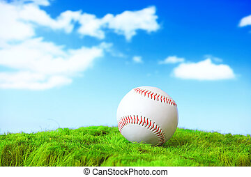 base ball in green grass field with sky - base ball in green...