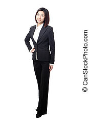Full length Business woman confident smile standing isolated...
