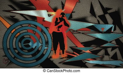 A man dances with graffiti - A dancing man stands in front...
