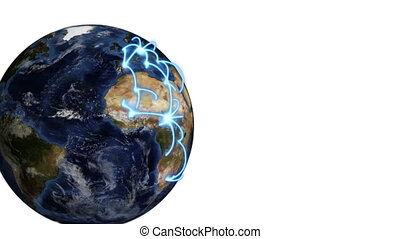 Earth turning as a video - Blue lines connecting around the...