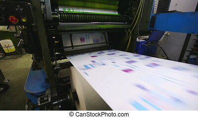 production line pf print shop typography machine