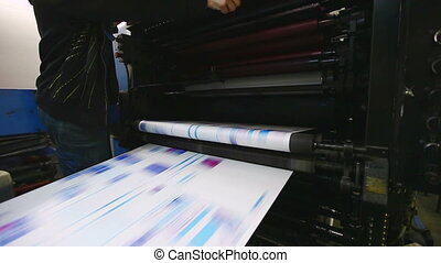 ready color newspaper on print shop typography machine