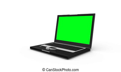 Laptop slides across the floor and opens to show a green...
