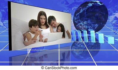 Family videos next to statistics and turning globe against a...