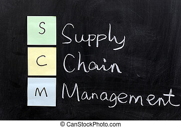 SCM, supply chain management - Chalk drawing - SCM, supply...