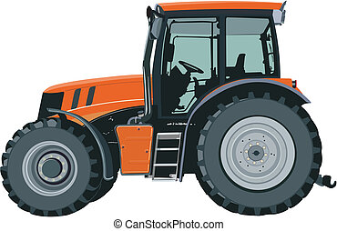 Tractor - Orange tractor separately on a white background