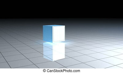 Animated cube spinning on itself