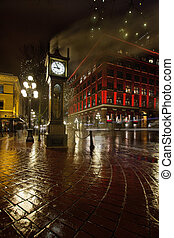 Gastown Steam Clock on a Rainy Night Vertical - Gastown...