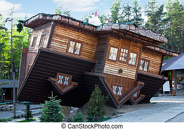 House upside down - house upside down with a functional...
