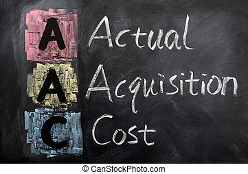 Acronym of AAC for Actual Acquisition Cost written in chalk...