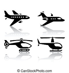 Set of transport icons - airbus and helicopter