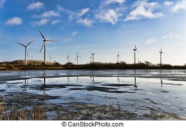 Wind turbine farm in the Danish Marsh, Denmark