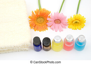 Colorful essential oil and yellow t - Essential oil and...