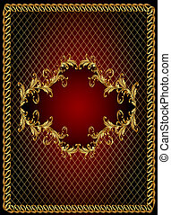 frame background with gold(en) vegetable ornament and net