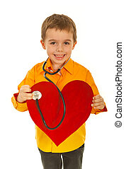 Happy future doctor examine heart - Happy future doctor boy...