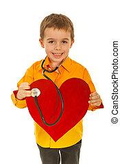 Happy future doctor examine heart - Happy future doctor boy...