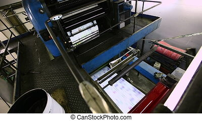 top view on print press typoghraphy production line