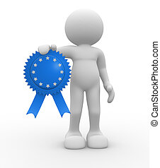 Medal - 3d people - human character, person with an award...