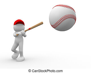 Baseball - 3d people - human character, person and baseball...
