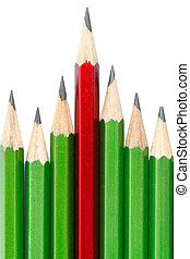 Leadership concept - one pencil stands out from other