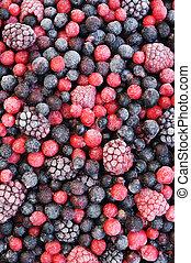 fim, cima, congelado, misturado, fruta, -, Bagas, -,...