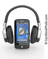Mobile phone with headphones 3d - Mobile phone with...