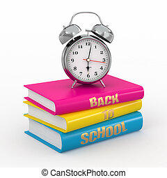 Back to school. Alarm clock on books. 3d