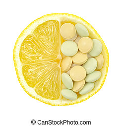 Close up of lemon and pills isolated  vitamin concept