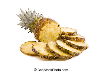 Pineapple fruits, slices - Ripe fruits pineapple with slices...